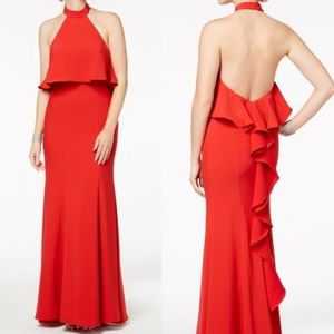 XSCAPE Popover Halter Open Back Ruffle Gown
